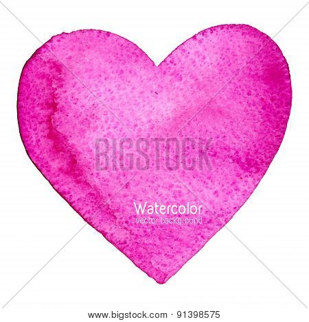 Vector Watercolor Splash Background With Paper Texture, Shaped As A Heart, Symbol Of Love.