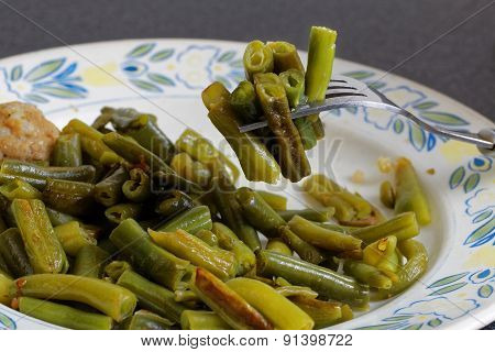 Closeup Fork With Fried Green French Bean