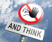 stop think act making a wise decision safety first sleep it over and use your brain  poster