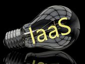 IaaS - Infrastructure as a Service - lightbulb on black background with text in it. 3d render illustration. poster