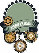 Vector Steampunk mechanical pocket watch elements are interlaced with banners and rotating parts poster