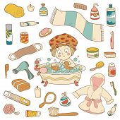 Set of vector cartoon bathroom elements and personal hygiene items poster