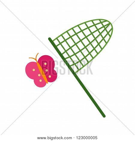Butterfly, net, catching icon vector image. Can also be used for outdoor fun. Suitable for use on web apps, mobile apps and print media.