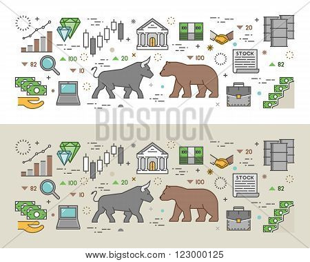 Horizontal concept of stock market. Modern banner of commodity exchange. Vector symbol of stock exchange. Outline concept of stock market.