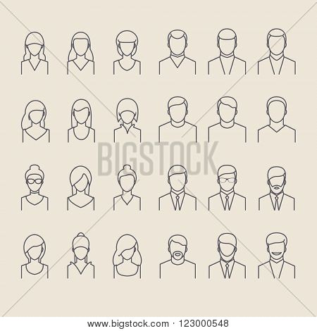 People icons thin line style. Flat design.