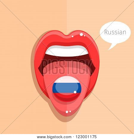 Russian language concept. Russian language tongue open mouth with Russian flag, woman face. Flat design, vector illustration.