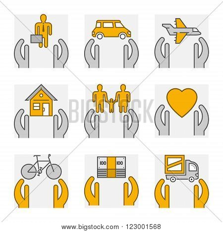 Vector line set icons of insurance. Outline insurance cars and home insurance. Line life insurance and health insurance.