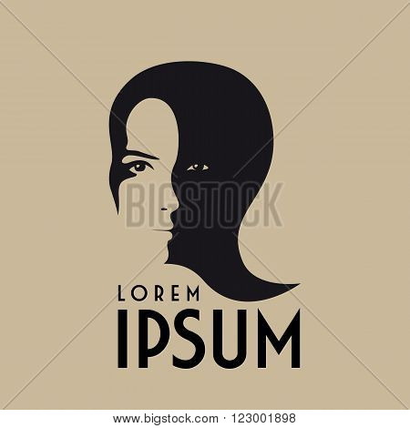 monochromatic beauty salon hairdresser or fashion logo design with dual woman face