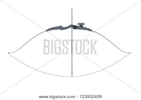 Bow with a tight bowstring isolated on white background. 3d rendering.