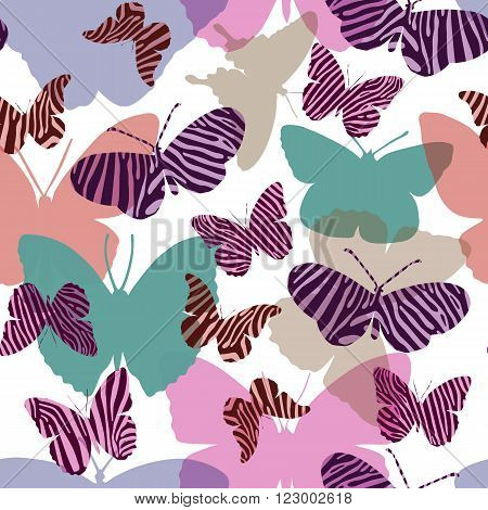 Seamless pattern seamless pattern in pink colors with butterflies painted Zebra