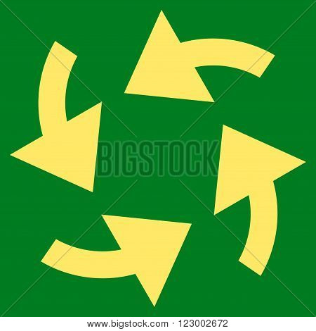 Cyclone Arrows vector icon symbol. Image style is flat cyclone arrows pictogram symbol drawn with yellow color on a green background.