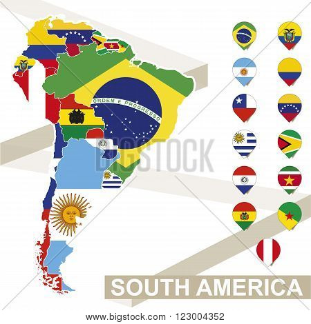 South America map with flags South America map colored in with their flag. Vector Illustration.
