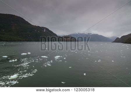 Chilean Fjords, Patagonia on a overcast day.