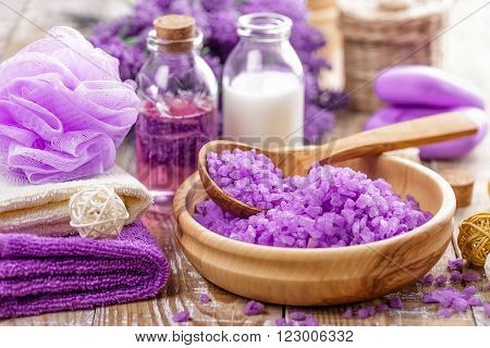 lavender spa set with sea salt and toiletries poster