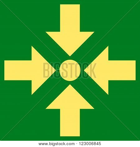 Shrink Arrows vector icon. Image style is flat shrink arrows icon symbol drawn with yellow color on a green background.