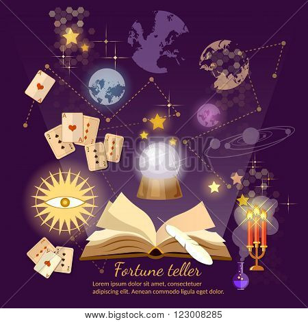 Fortune teller crystal ball magic book astrology signs