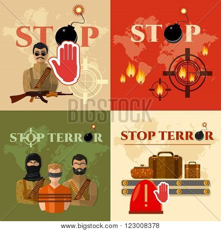 Terrorism set global threat world terror group terrorists vector illustration