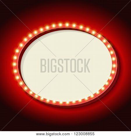 Retro frame with neon Red. Vintage 3d frame with lights on the oval. White empty space for your text, messages, events, advertising. Violet light falls on the black wall. illustration