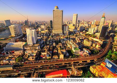 Bangkok City at evening time, Hotel and resident area in the capital of Thailand