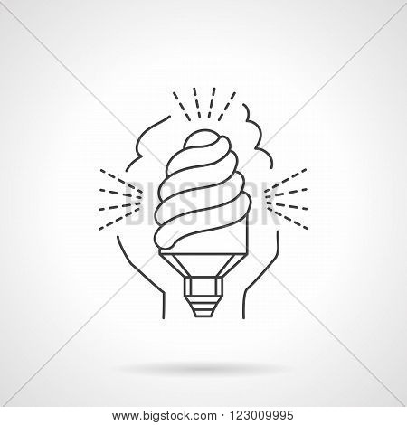 Saving energy equipment. Illuminated lamp. Eco-friendly technology. Vector icon flat thin line style. Element for web design, business, mobile app.
