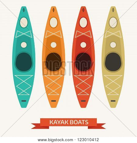 Kayaking boats in different vintage colors. Kayak vector icon set isolated on white background. Rafting pictogram for website and application