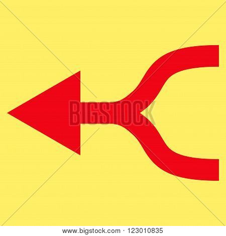 Combine Arrow Left vector icon symbol. Image style is flat combine arrow left iconic symbol drawn with red color on a yellow background.