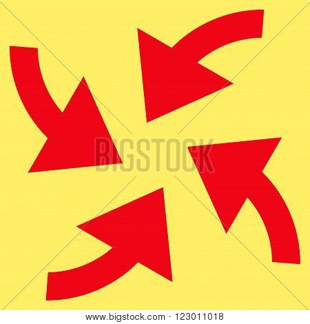 Cyclone Arrows vector symbol. Image style is flat cyclone arrows pictogram symbol drawn with red color on a yellow background.