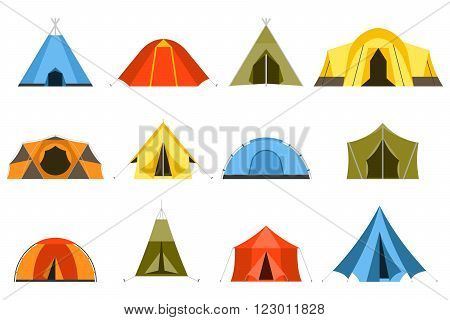 Camping tents vector icon. Triangle and dome flat design tents. Tourist hiking tents isolated on white background. Green blue yellow and blue colors. Vector tent pictograms.