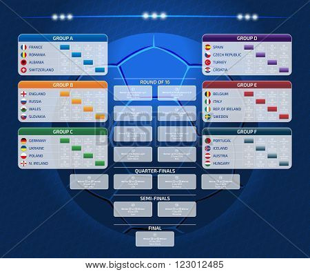 Match schedule template for web print football results table flags of European countries participating to the final tournament of european football championship 2016 vector illustration