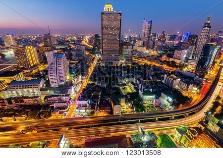 Bangkok cityscape. Bangkok night view in the business district. at dusk.