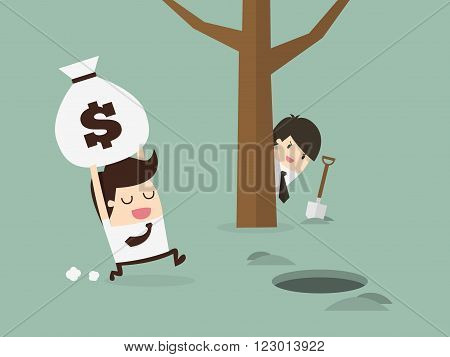 businessman being robbed. Business Concept Cartoon Illustration.