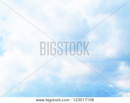 Vector cloudy blue sky. Optical illusion of photo real. Vector iridescent mesh gradient. Colorful blue sky, illusion of oil paintings. Multicolor shades of colors, special effect.