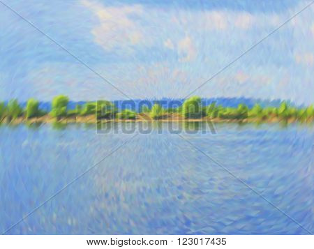 Vector EPS10 cloudy blue sky. Optical illusion of photo real. Vector iridescent mesh gradient. Colorful blue sky, illusion of oil paintings. Multicolor shades of colors, special effect.
