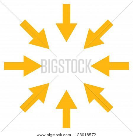 Compact Arrows vector icon. Image style is flat compact arrows iconic symbol drawn with yellow color on a white background.
