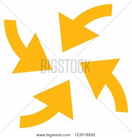 Cyclone Arrows vector icon symbol. Image style is flat cyclone arrows iconic symbol drawn with yellow color on a white background.