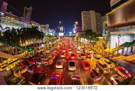 BANGKOK THAILAND- May 5: The big automobile stopper on one of the central streets of Bangkok on 5 May 2015. The basic problem of the Asian megacities is the complicated traffic.The front of Central World Shopping center