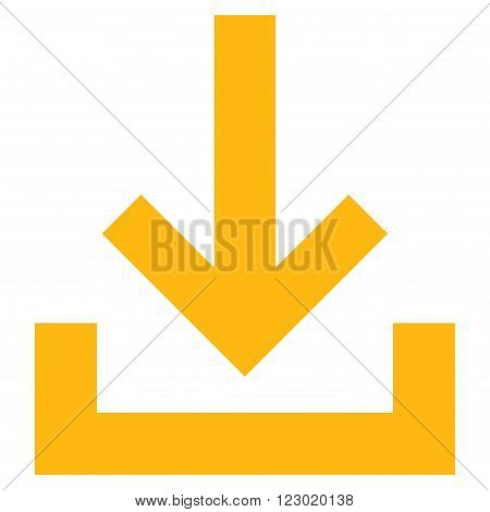Inbox vector icon symbol. Image style is flat inbox pictogram symbol drawn with yellow color on a white background.