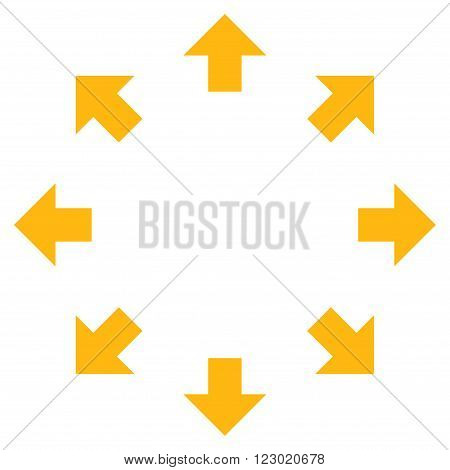 Radial Arrows vector pictogram. Image style is flat radial arrows icon symbol drawn with yellow color on a white background.