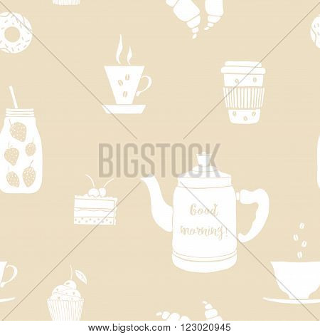 Pattern with isolated drinks for breakfast. Vector pattern with pot, cups, mason jar. Hand drawn drinks with lettering Good Morning. Drink vector icon pattern on beige background. Coffee, fruit smoothie, tea, pot.