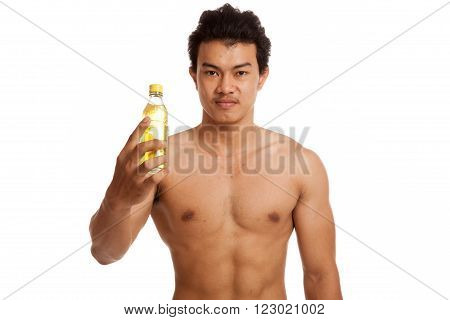 Muscular Asian man with electrolyte drink  isolated on white background