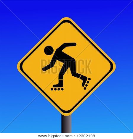 Warning rollerbladers ahead sign on blue illustration JPG
