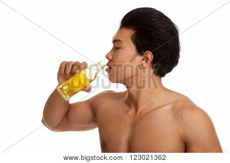 Muscular Asian Man With Electrolyte Drink