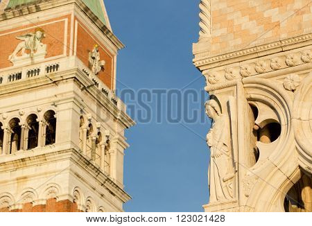 Details on fasade of San Marco Tower and details of Dodge Palace, Venice Italy