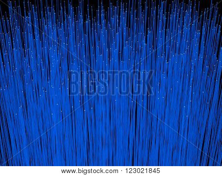 Fiber optic cables close up. 3D rendering of fiber optic cables used for transfer data in network systems.