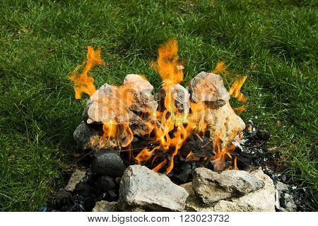 Flames Fire Overlaid With Stones