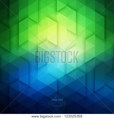 Vector technology geometric background. Vector blue and green background. Abstract vector pattern. Vector geometric structure. Triangular vector background. Retro vector background. Hipster background