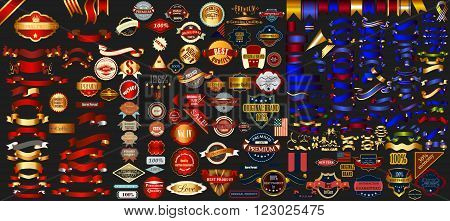 Mega collection labels set premium quality cafe bakery sale Christmas and coffee USA ribbons and other