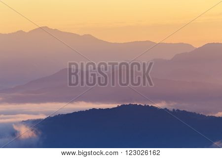 Mountain And Mist In Morning