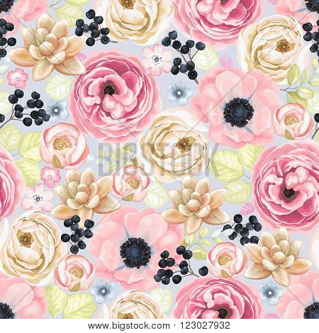 Seamless soft colorful pattern with anemones, ranunculus, succulents and wild Privet Berry in vintage watercolor style, vector illustration.