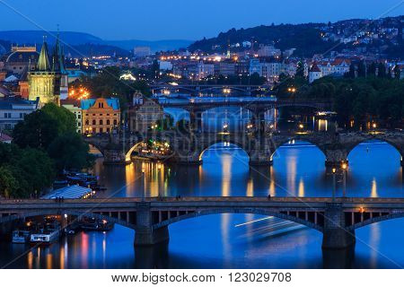 PRAGUE - MAY,15,2015:Prague bridges in the night Prague Czech Republic Europe